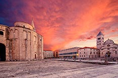 St.Donatus church, Church of St. Mary's and Museum of Church Art on the Roma Forum in Zadar.